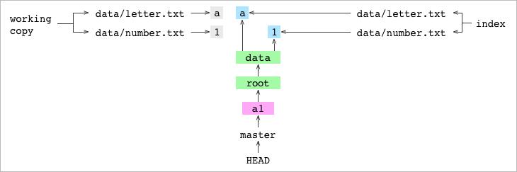 包含工作拷贝和索引的 <code>a1</code> 提交